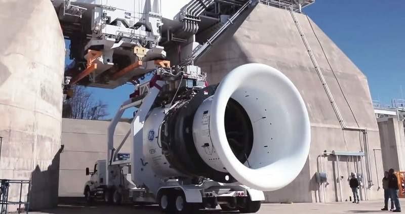 GE9X Jet Engine on test rig