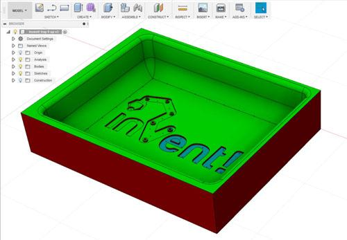 Fusion 360 model of vacuum forming tray tooling